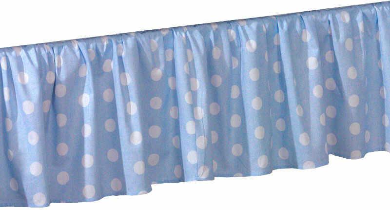 MAMO-TATO Falbanka do łóżeczka 60x120 Grochy niebieskie