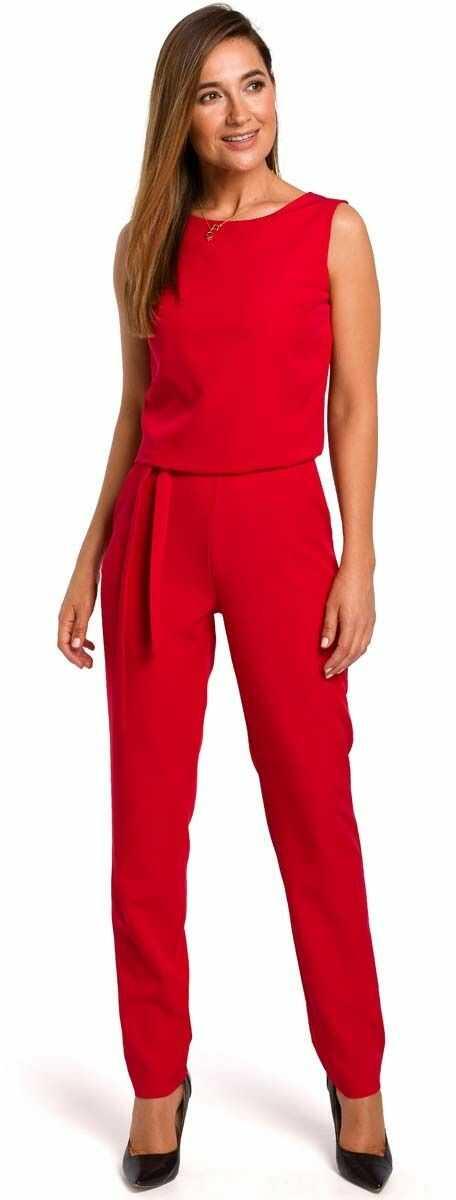 Czerwony elegancki kombinezon z koronką