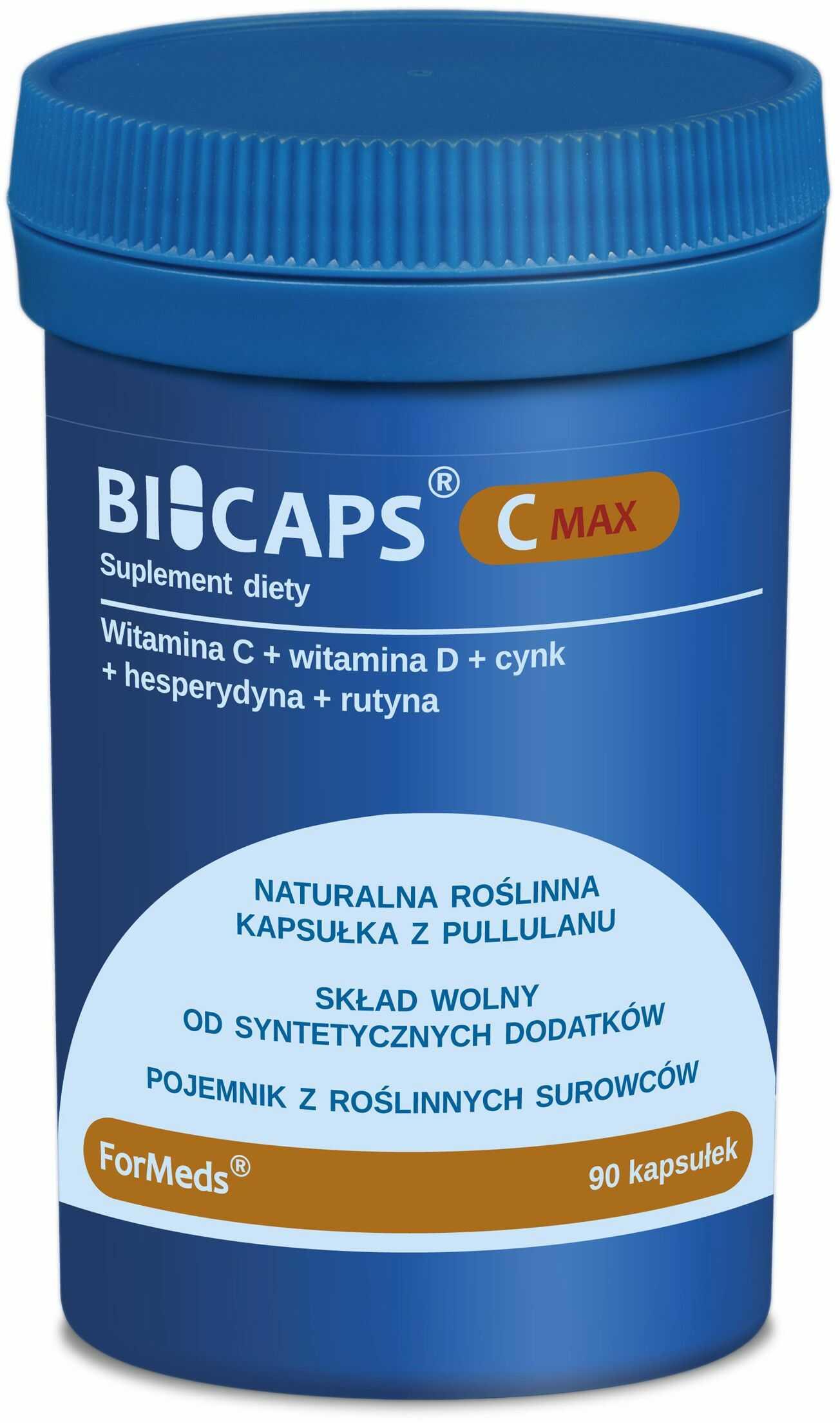 BICAPS Witamina C Max (90 kaps) Kwas L-Askorbinowy + Cynk + Witamina D3 + Rutyna + Hesperydyna ForMeds