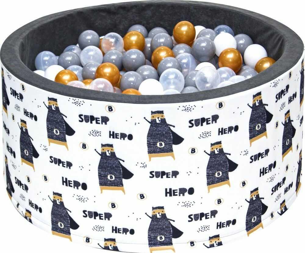 Suchy basen dla dzieci 90x40 z kulkami piłeczkami 7cm - Szop bohater