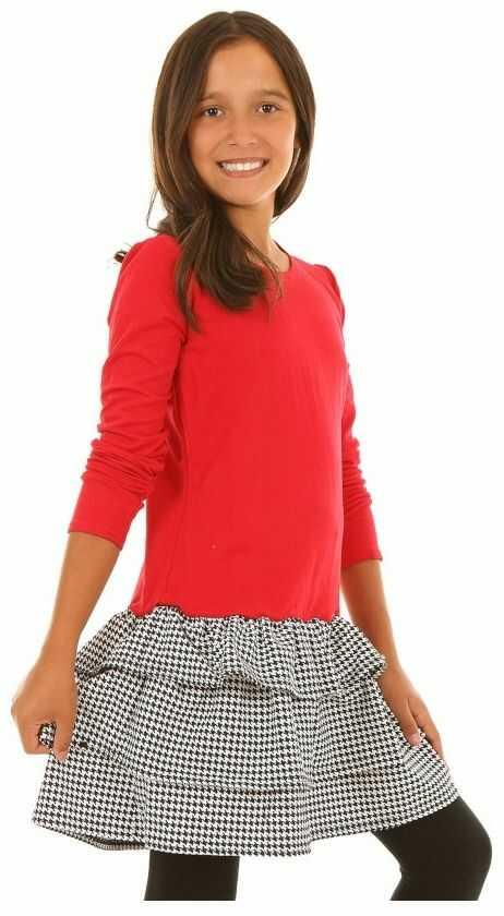 Sukienka w pepitkę z falbankami 116-158 KRP207 czerwono-czarna