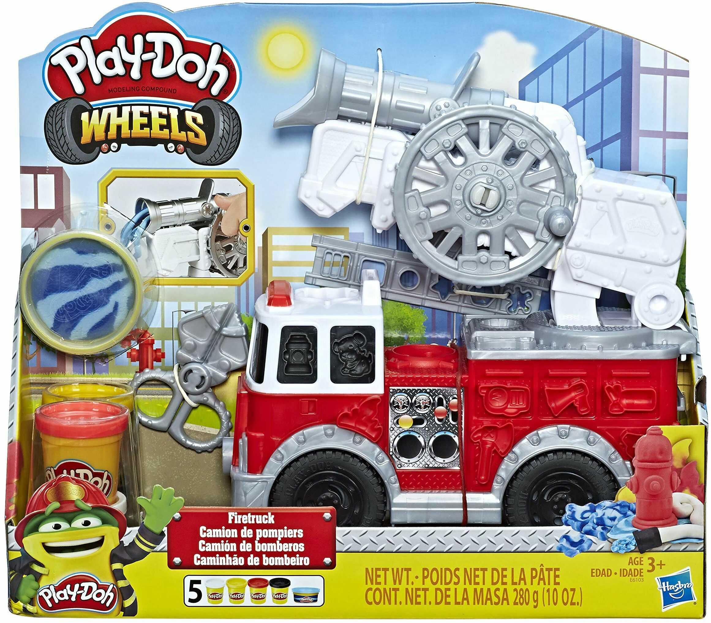 Play-Doh Wheels Wóz Strażacki Zabawka Kreatywna z Ciastoliną, Wielokolorowy, 5 Tub, E6103EU5