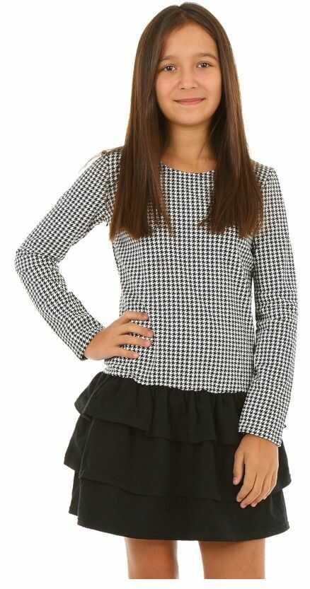 Dziewczęca sukienka z falbankami 116-158 KRP207 biało-czarna