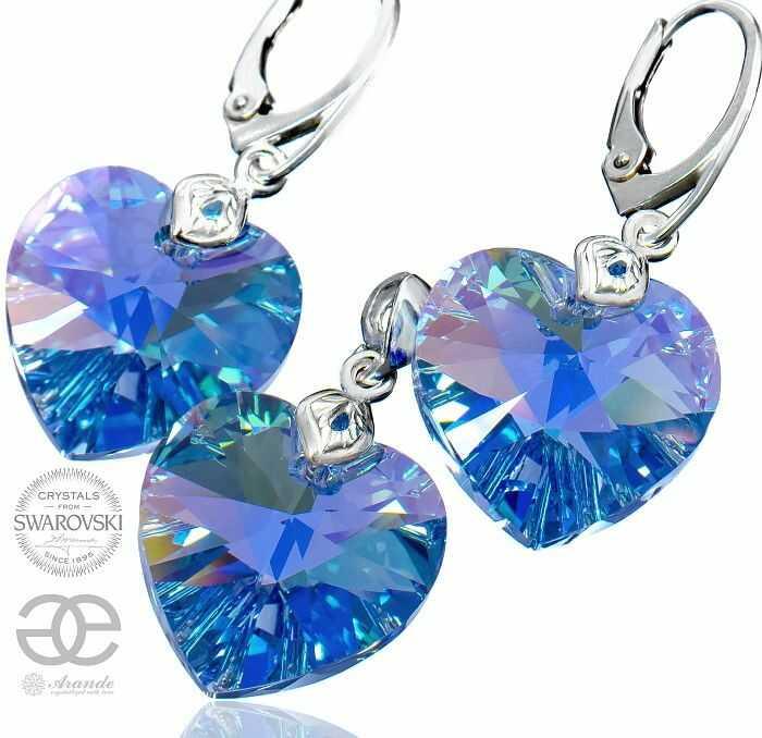 Kryształy Komplet Duże Niebieskie Serca SREBRO