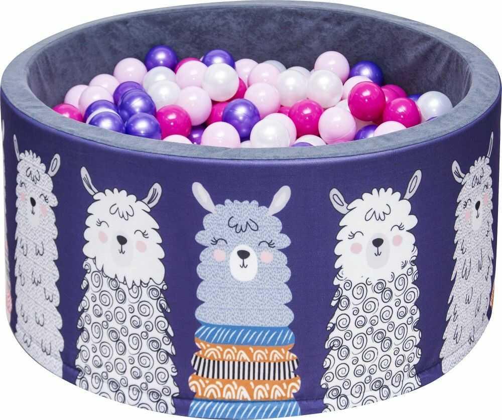 Suchy basen dla dzieci 90x40 z kulkami piłeczkami 7cm - Lamy