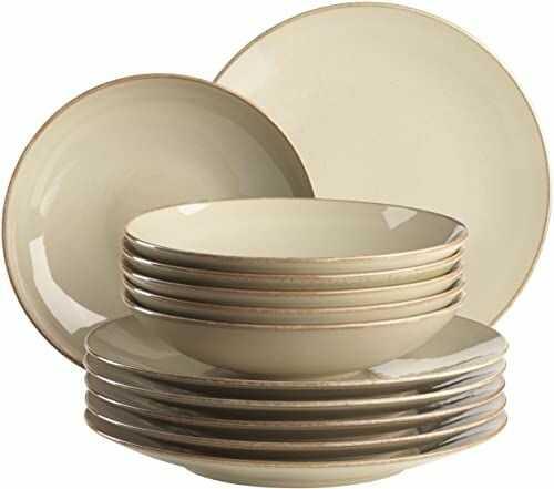 MÄSER 931734 Ossia zestaw talerzy dla 6 osób w stylu śródziemnomorskim vintage, 12-częściowy nowoczesny serwis stołowy z talerzami do zupy i talerzami obiadowymi w kolorze piaskowo-szarym, ceramika