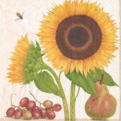 Caspari botaniczne badania papierowe serwetki koktajlowe, opakowanie 20 sztuk, żółte