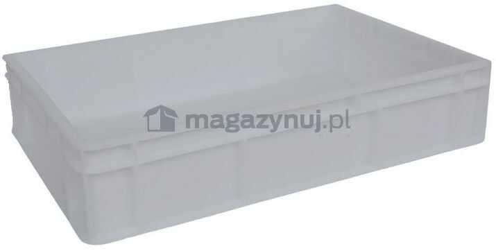 Pojemnik transportowy EURO 130 ścianki i dno pełne, wym. 600 x 400 x 130 mm, bez uchwytu (kolor: biały)