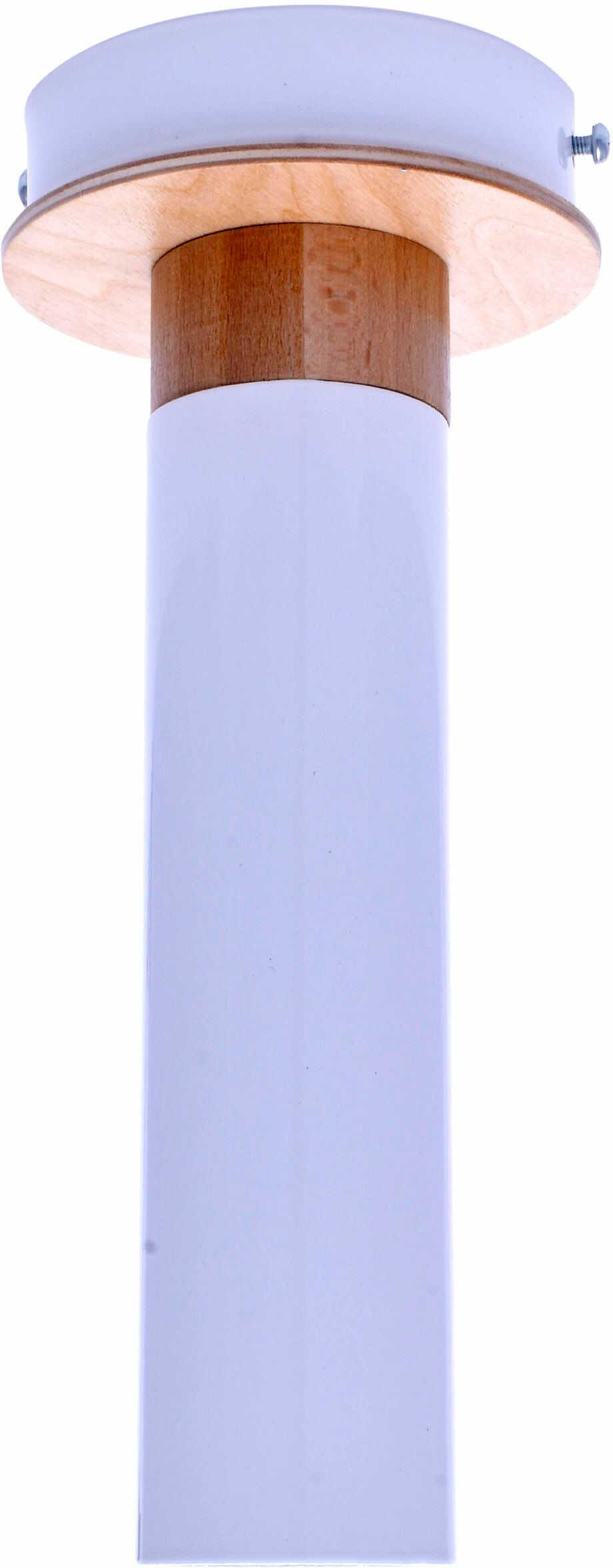 Milagro Pedro White MLP4255 plafon lampa sufitowa metal drewno tuba biała 1xGU10 10cm