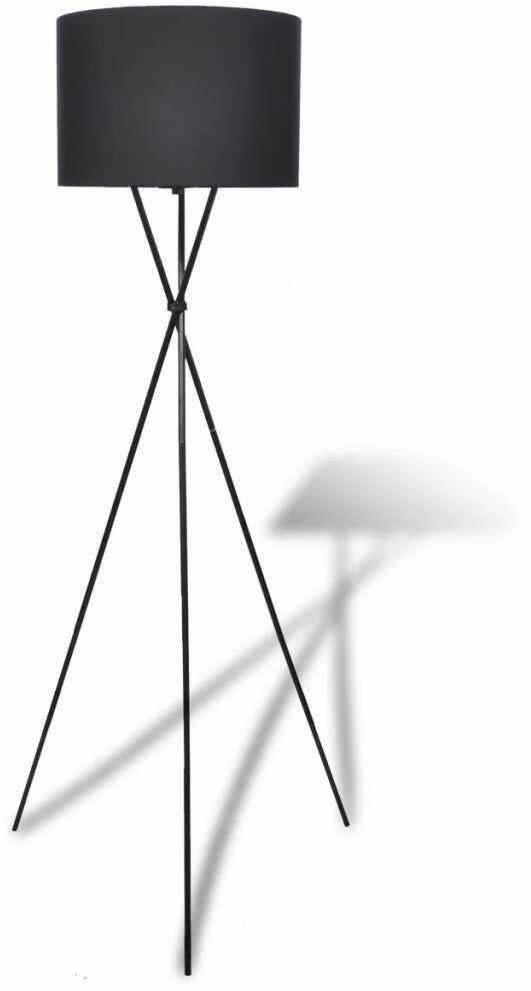Czarna okrągła lampa podłogowa z włącznikiem - EX02-Someba