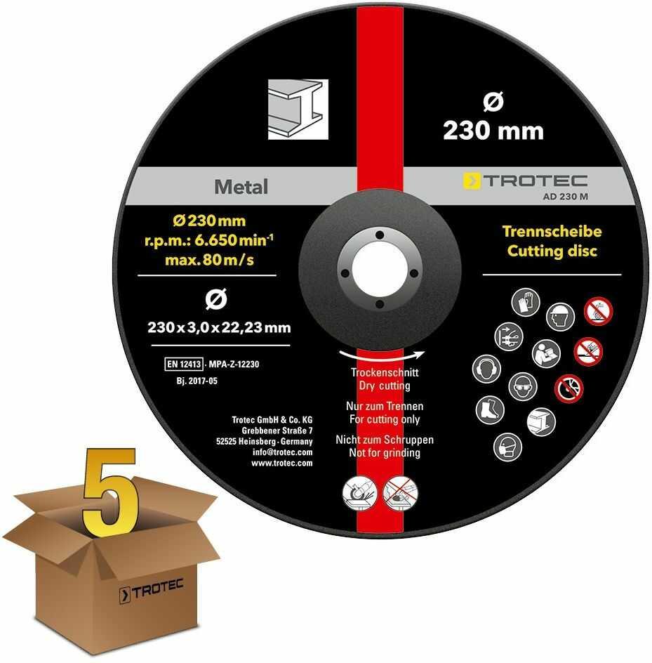 Tarcza tnąca metal 230  wygięta, w korzystnym 5-paku