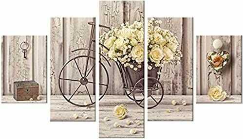 Lupia Obraz 5 sztuk z drewna VOGUE Yellow Roses wielokolorowy 66,0 x 115,0 x 0,8 cm