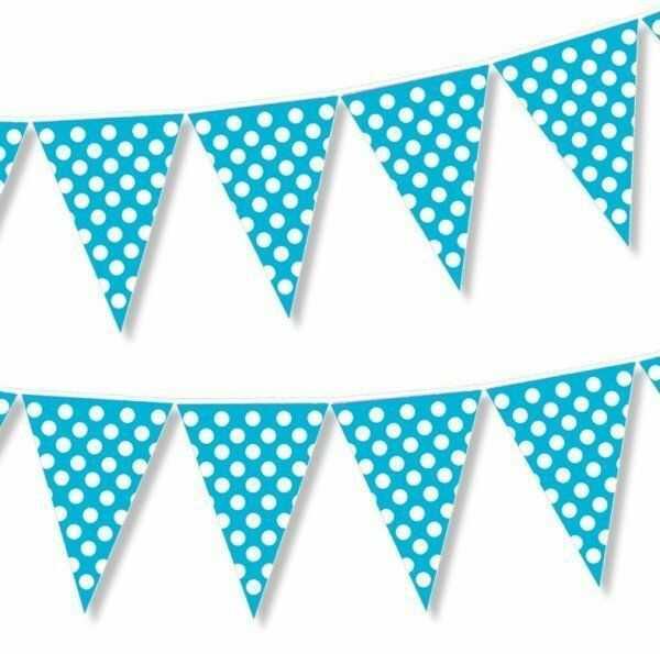 Girlanda flagi niebieskie w białe kropki 2m 1szt CHN1