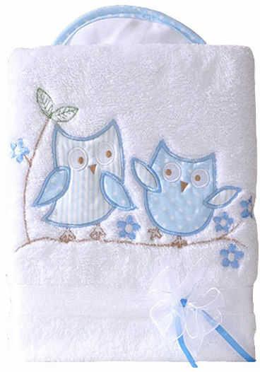 MAMO-TATO Kocyk długowłosy dwustronny z haftem Sówki uszatki biało-błękitne