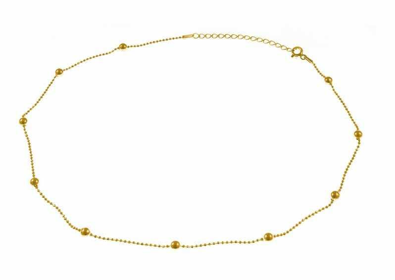 Pozłacany srebrny naszyjnik gwiazd celebrytka choker gładkie kulki kuleczki srebro 925 ML239NG