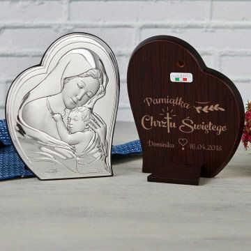 Pamiątka Chrztu - Matka Boska - Srebrny Obrazek z Grawerem