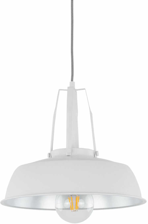 Italux Paloma MDM-3619/1M W+SL lampa wisząca nowoczesna stal klosz biało-srebrny IP20 E27 1x60W 35cm