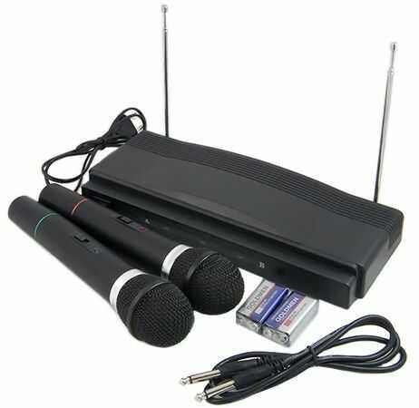 Zestaw do Karaoke: Stacja + 2 Bezprzewodowe Mikrofony.