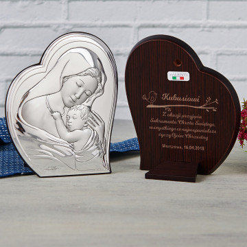 Sakrament Chrztu - Matka Boska - Srebrny Obrazek z Grawerem