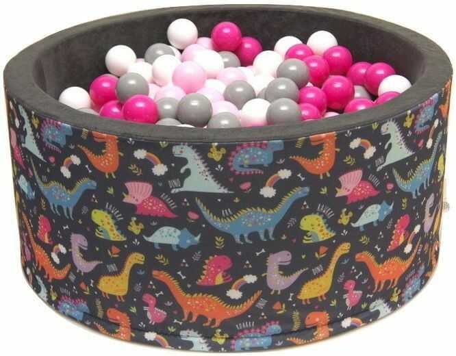 Suchy basen dla dzieci 90x40 z kulkami piłeczkami 7cm - Wesołe dinozaury