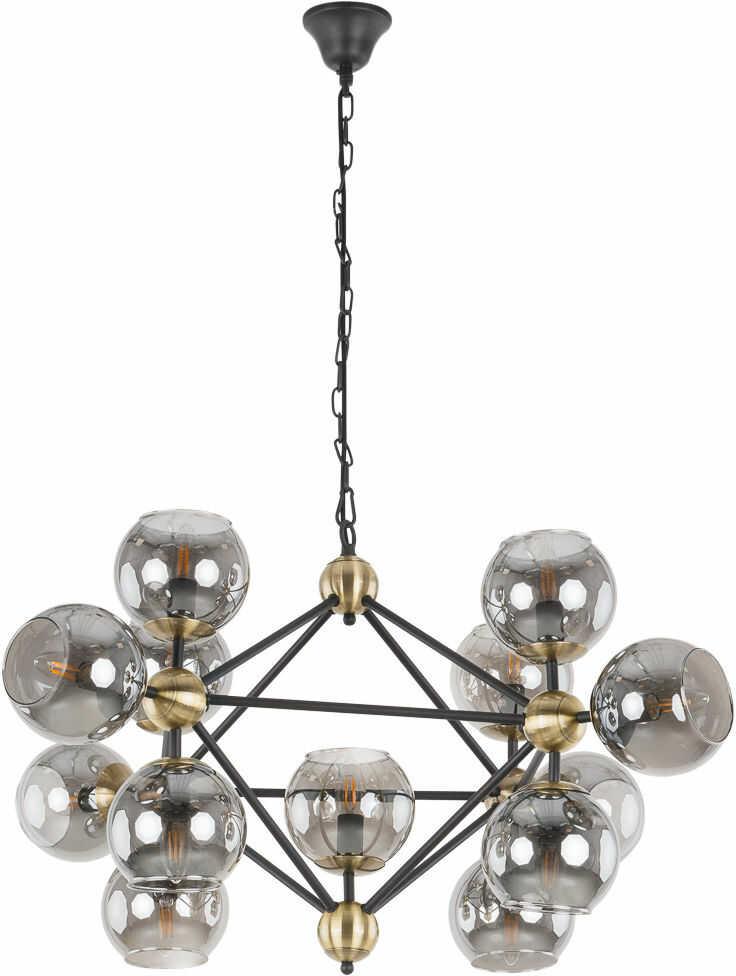 Italux Rebekka 10293/13P FUME lampa wisząca nowoczesna stal czarny brąz antyczny klosze kule szkło grafitowy 100cm IP20 13xE14 60W
