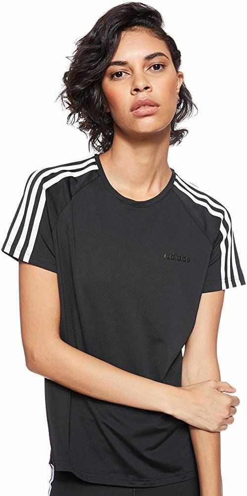 Adidas damska W D2M 3S koszulka koszulka, czarny/biały, 2XS