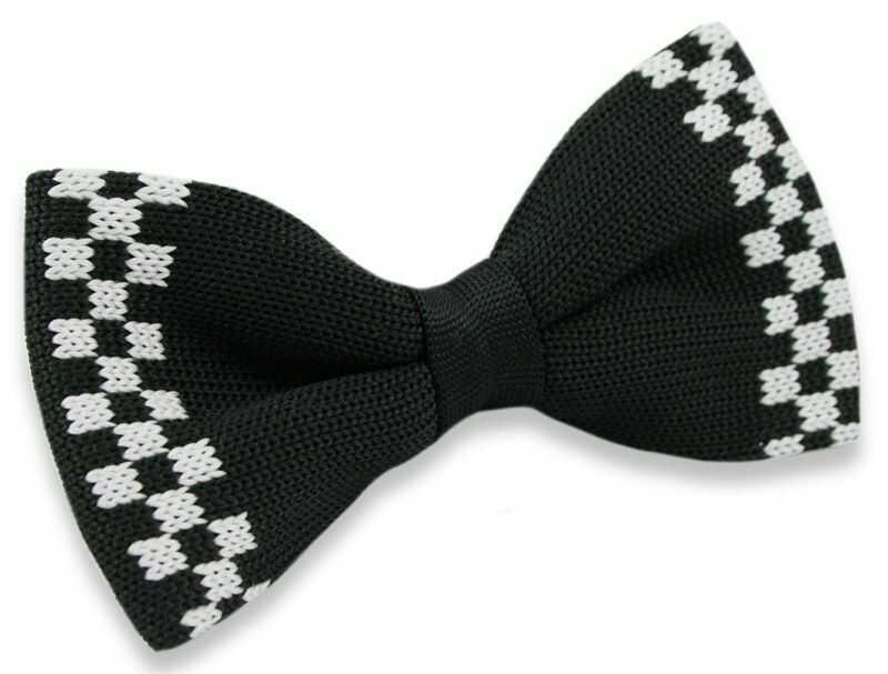 Mucha Typu Knit - Alties - Czarna z Białą Kratką MUALTS0184