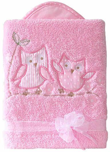 MAMO-TATO Kocyk długowłosy dwustronny z haftem Sówki uszatki różowe