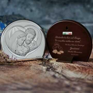 Dziecko to dar od Boga - Św. Rodzina - Półkole - Srebrny Obrazek z Grawerem