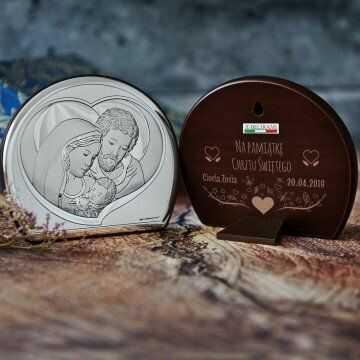 Na pamiątkę chrztu - Św. Rodzina - Półkole - Srebrny Obrazek z Grawerem