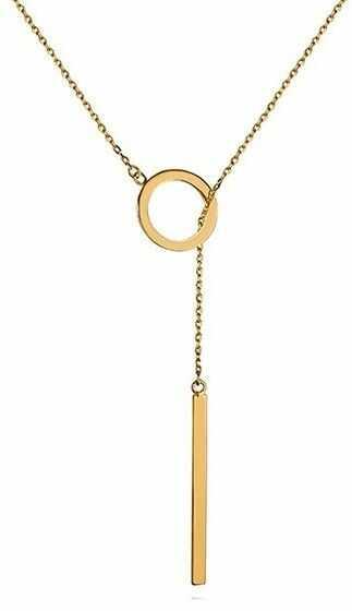 Srebrny pozłacany naszyjnik gwiazd celebrytka krawatka kółko ring sztabka srebro 925 Z1130N_G