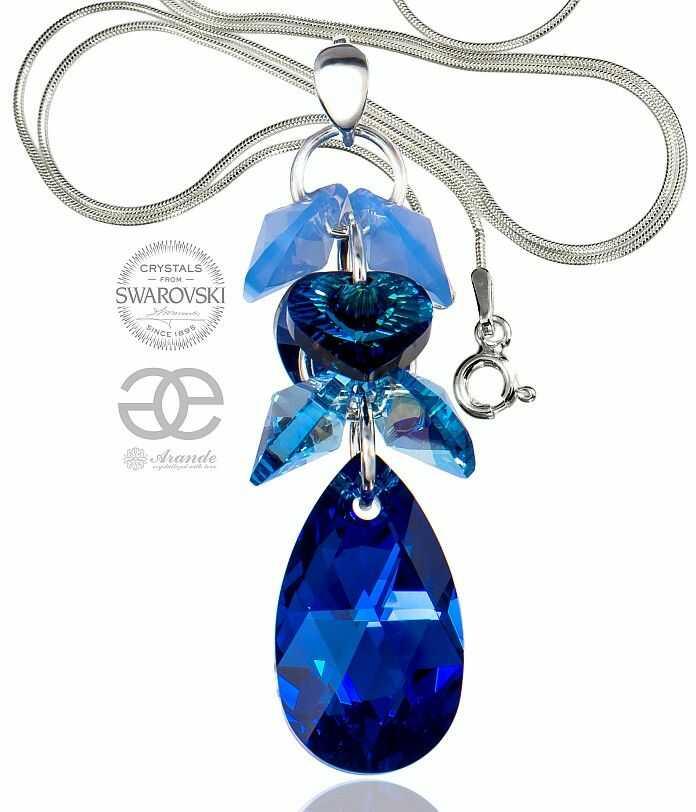 SWAROVSKI piękny naszyjnik BLUE COMET ZODIAC SREBRO