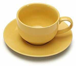 Giannini 24366 kolory kubek śniadaniowy ze spodkiem - żółty, nietoksyczny