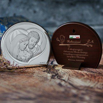Sakrament Chrztu - Św. Rodzina - Półkole - Srebrny Obrazek z Grawerem