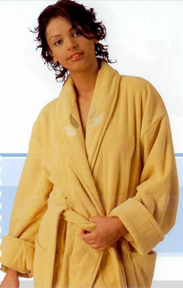 Szlafrok Hazan rozmiar One Size plus kpl ręczników 2 szt Żółty