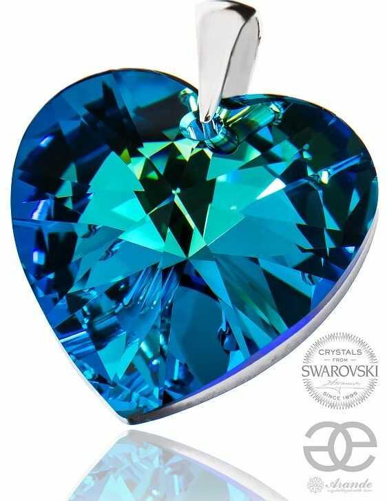 SWAROVSKI DUŻY WISIOREK BLUE HEART SREBRO 925
