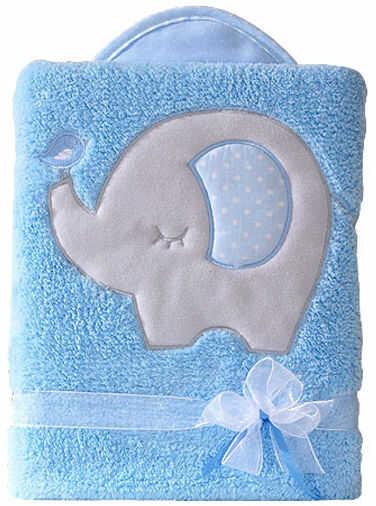 MAMO-TATO Kocyk dla dzieci długowłosy dwustronny z haftem Słonik błękitny