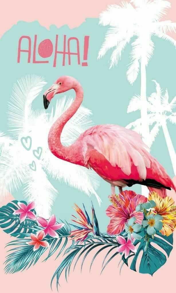 Ręczniczek do przedszkola 30x50 Flamingi 1593 Aloha Hello liście palmy monstery
