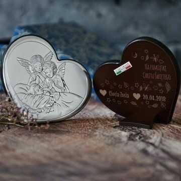 Na pamiątkę Chrztu - Anioły nad dzieckiem - serce - Srebrny Obrazek z Grawerem