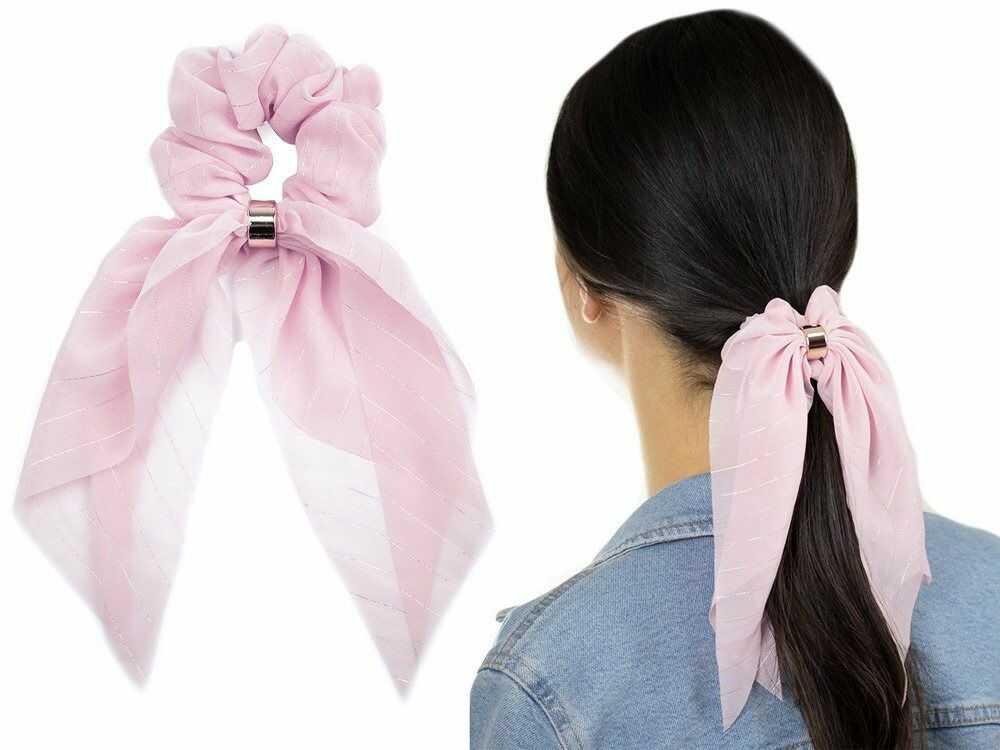 Gumka do włosów kokarda apaszka scrunchies różowa