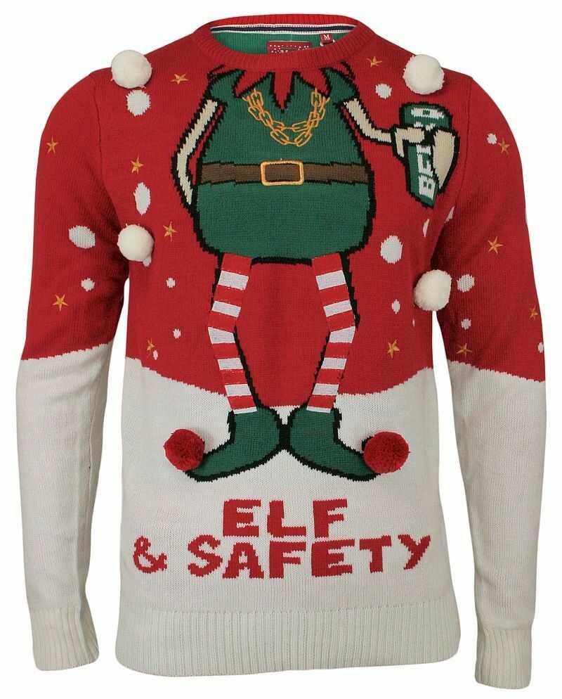 Sweter Świąteczny z Elfem, Śmieszny, Na Prezent, Pompony - Brave Soul, Męski SWBRSAW18SAFETYred