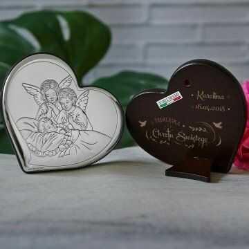 Pamiątka Chrztu - Anioły nad dzieckiem - serce - Srebrny Obrazek z Grawerem