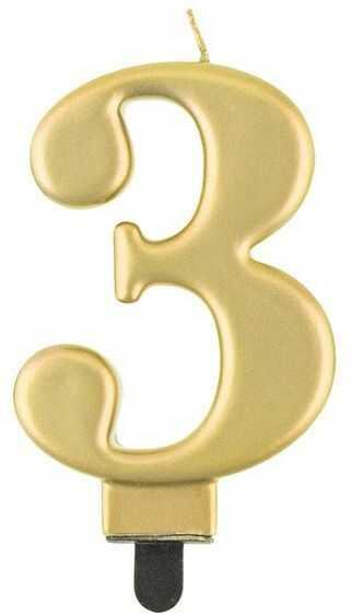 Świeczka cyfra 3 złota metaliczna 1 sztuka PF-SCZ3