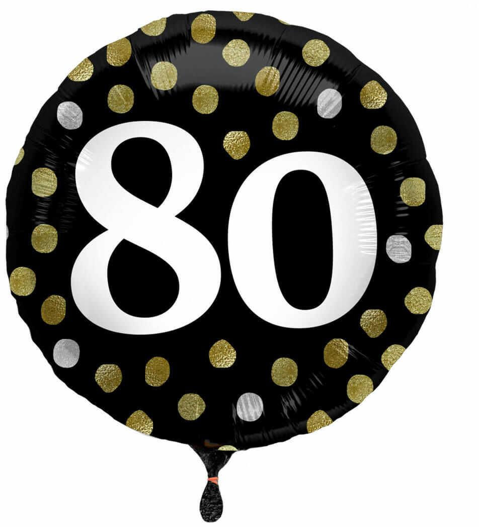 Balon foliowy na osiemdziesiątkę czarny - 45 cm - 1 szt.