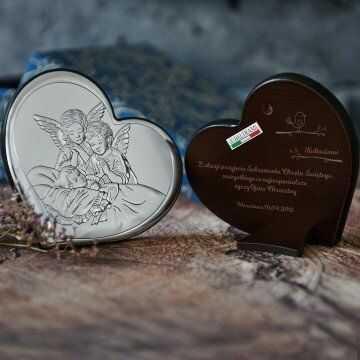 Sakrament Chrztu - Anioły nad dzieckiem - serce - Srebrny Obrazek z Grawerem