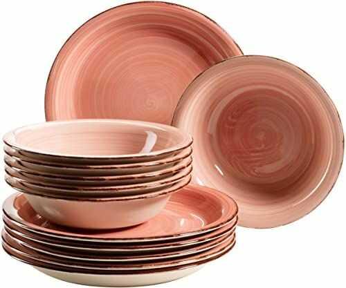 MÄSER Bel Tempo II zestaw talerzy dla 6 osób w nowoczesnym stylu vintage, 12-częściowy zastawa stołowa, ręcznie malowana, różowa, kamionka