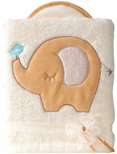 MAMO-TATO Kocyk dla dzieci długowłosy dwustronny z haftem Słonik biszkoptowy