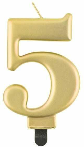 Świeczka cyfra 5 złota metaliczna 1 sztuka PF-SCZ5