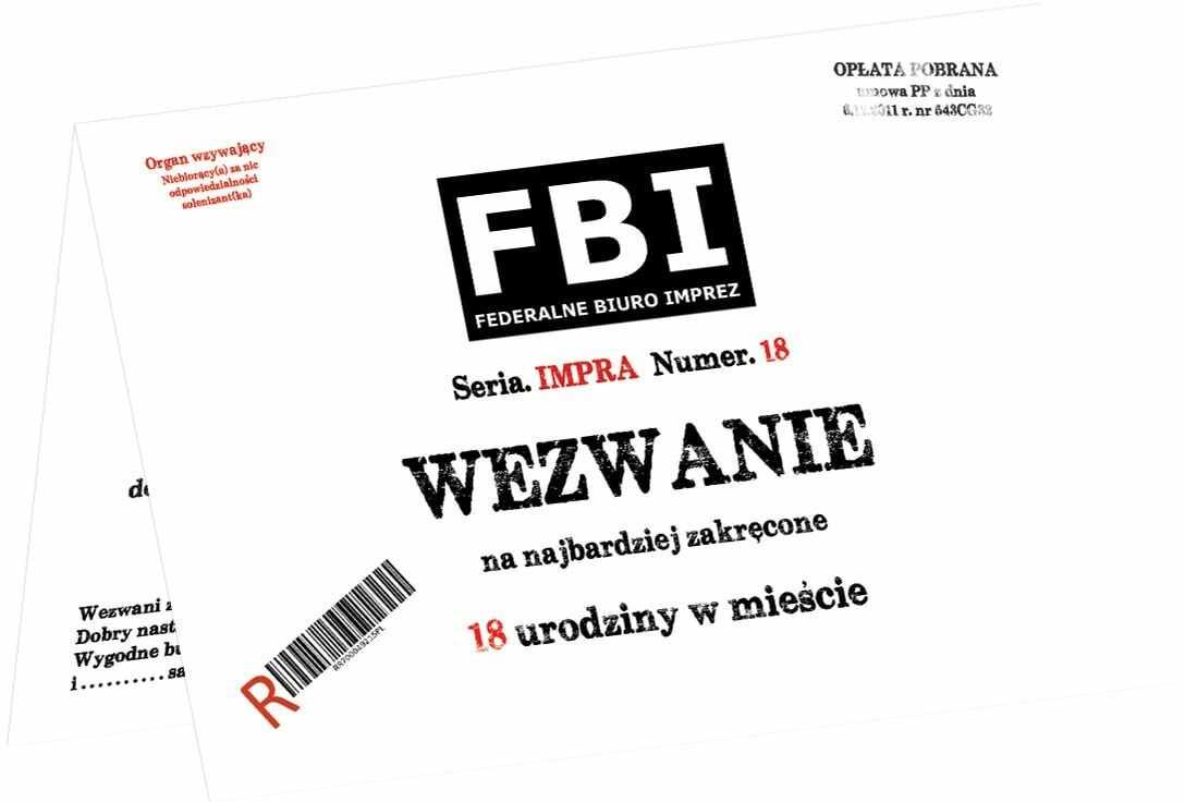 Zaproszenia z kopertą na 18-tke Wezwanie FBI - 6 szt.