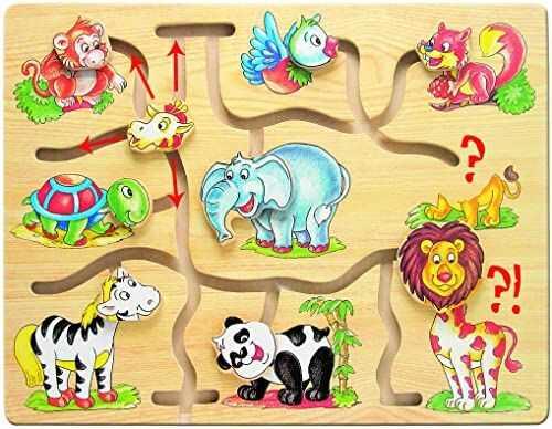 Bino Afryka zabawka motoryczna dla dzieci od 3 lat, zabawka dla dzieci (drewniana zabawka z różnymi motywami zwierzęcymi, puzzle przesuwne do wspierania motoryki i koordynacji ręka-oka), wielokolorowa